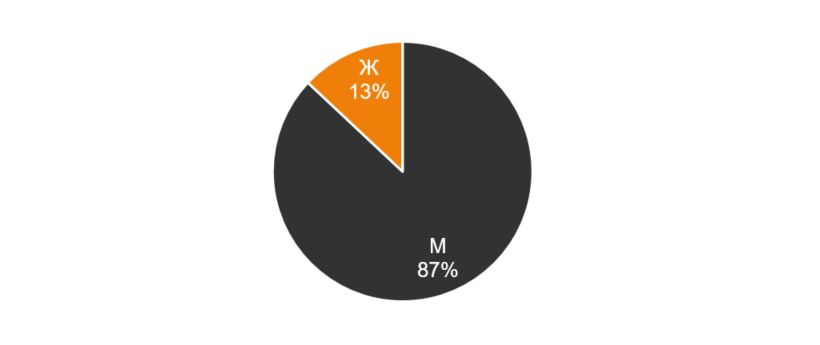 Рисунок 5. Пол соискателей, %